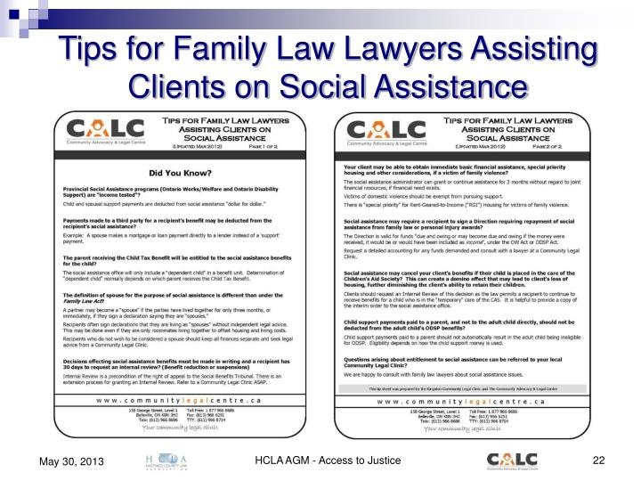 Tips for Family Law Lawyers Assisting Clients on Social Assistance