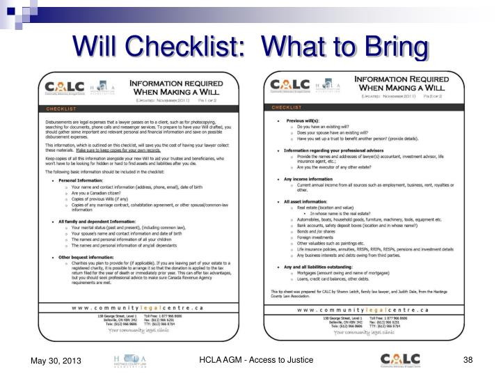 Will Checklist:  What to Bring