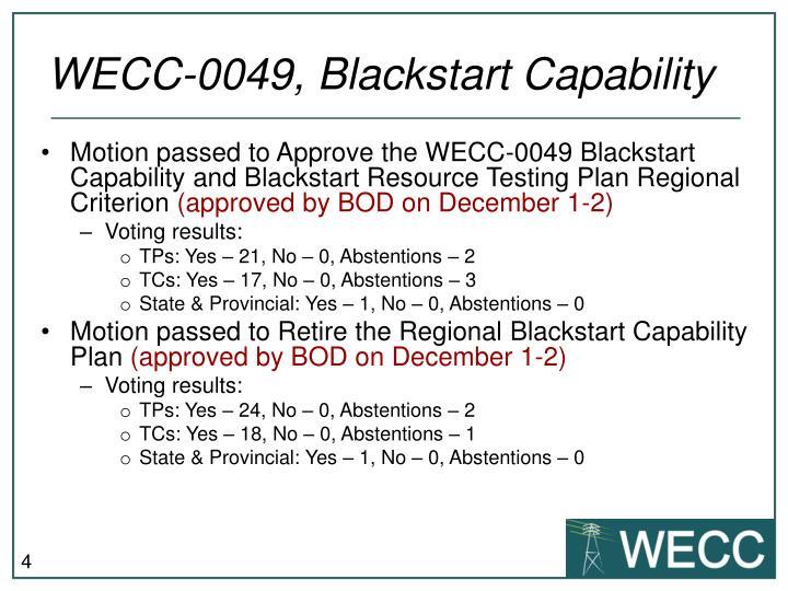 WECC-0049, Blackstart Capability