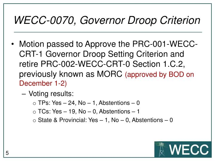 WECC-0070, Governor Droop Criterion