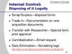 internal control disposing of it legally