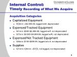 internal control timely recording of what we acquire1