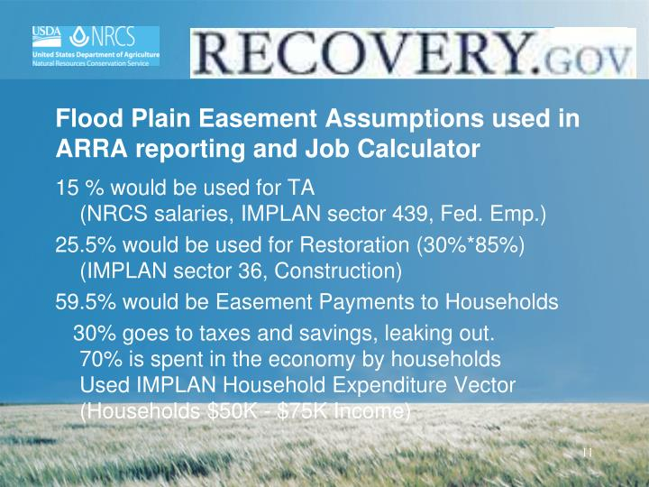 Flood Plain Easement Assumptions used in ARRA reporting and Job Calculator