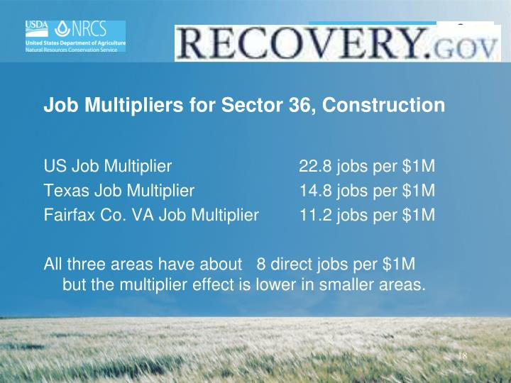 Job Multipliers for Sector 36, Construction
