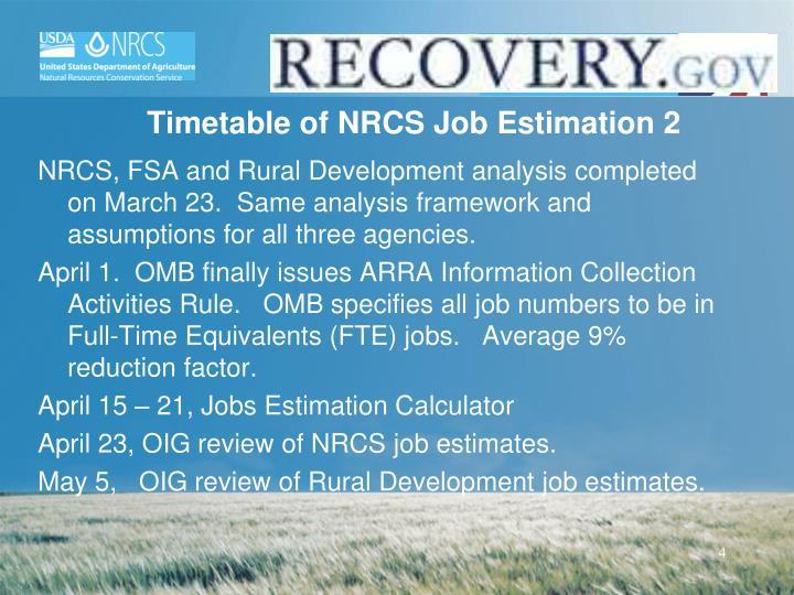 Timetable of NRCS Job Estimation 2