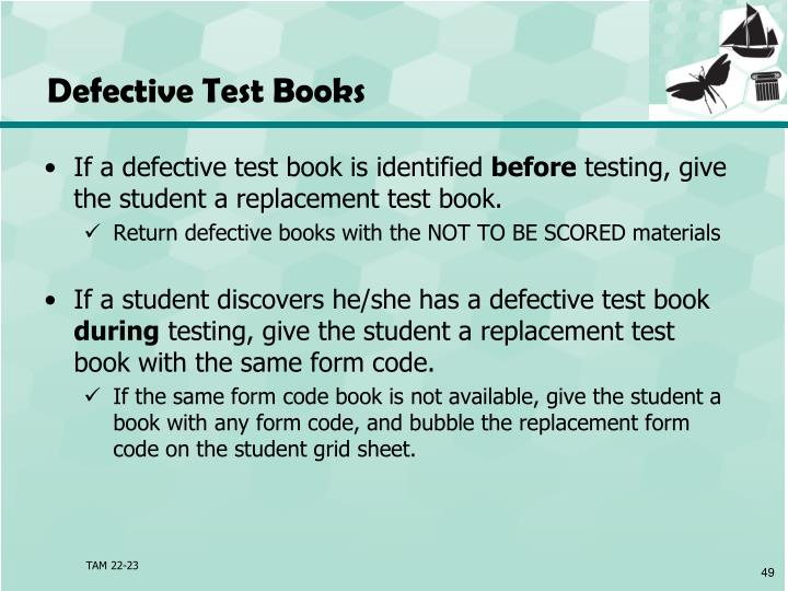 Defective Test Books