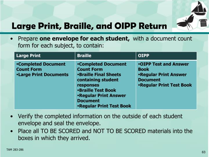 Large Print, Braille, and OIPP