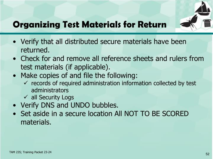 Organizing Test Materials for Return