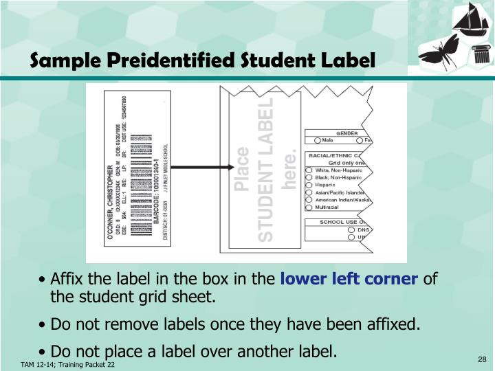 Sample Preidentified Student Label