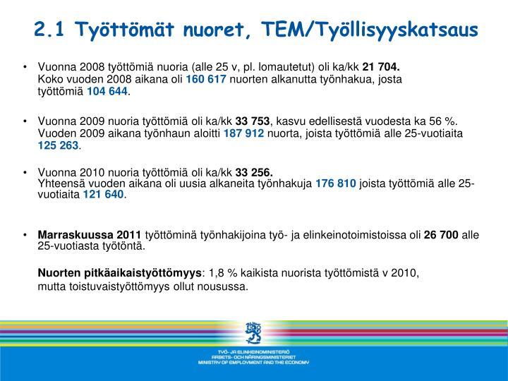 2.1 Työttömät nuoret, TEM/Työllisyyskatsaus