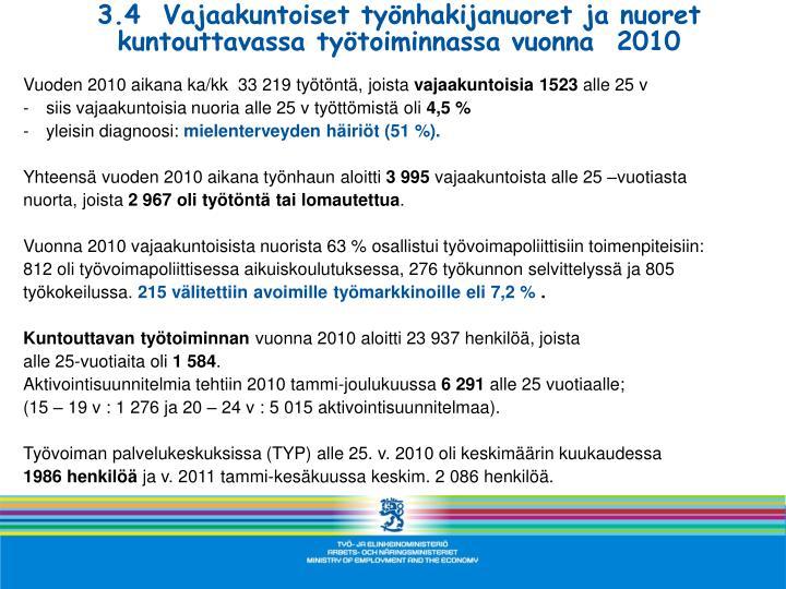 3.4  Vajaakuntoiset työnhakijanuoret ja nuoret kuntouttavassa työtoiminnassa vuonna  2010
