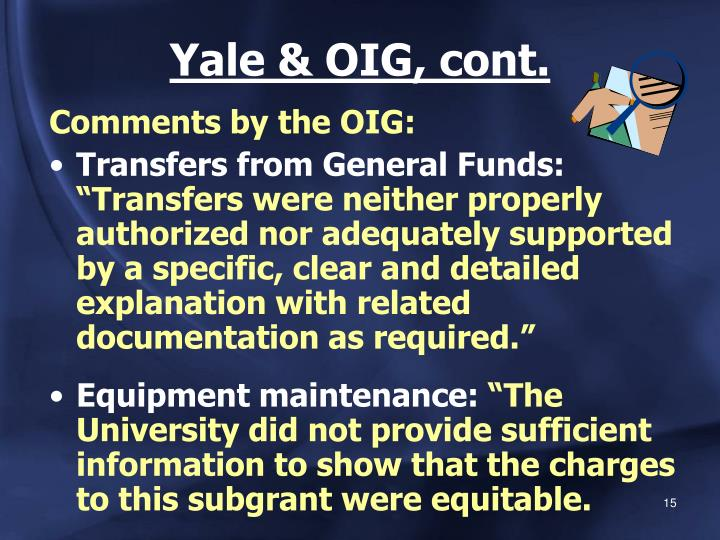 Yale & OIG, cont.