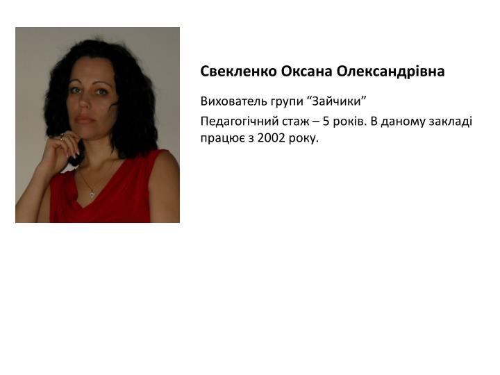 Свекленко Оксана Олександрівна