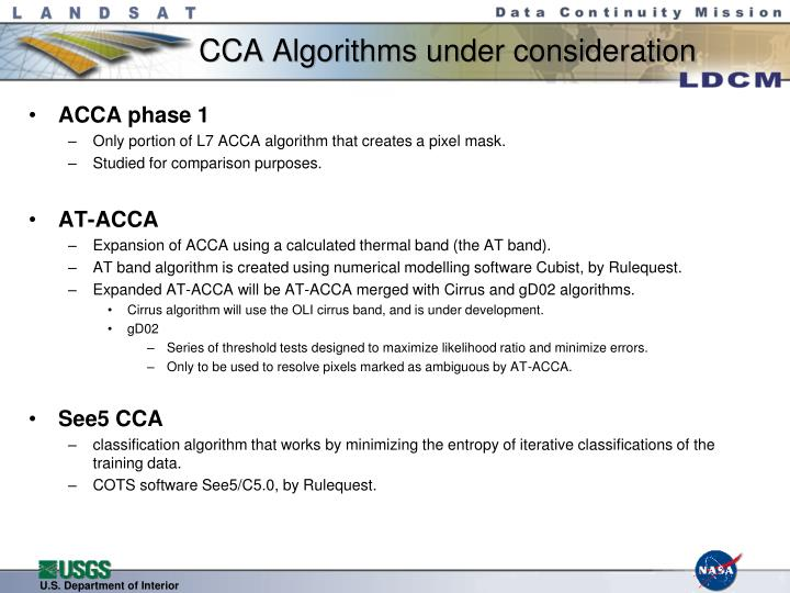Cca algorithms under consideration