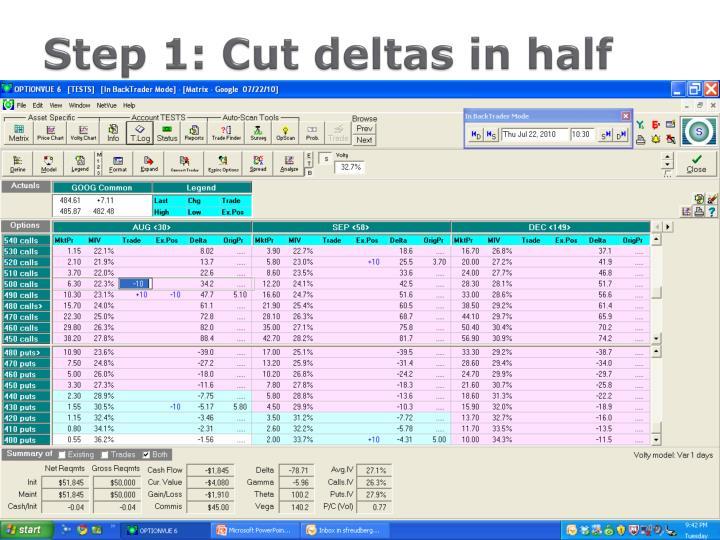 Step 1: Cut deltas in half
