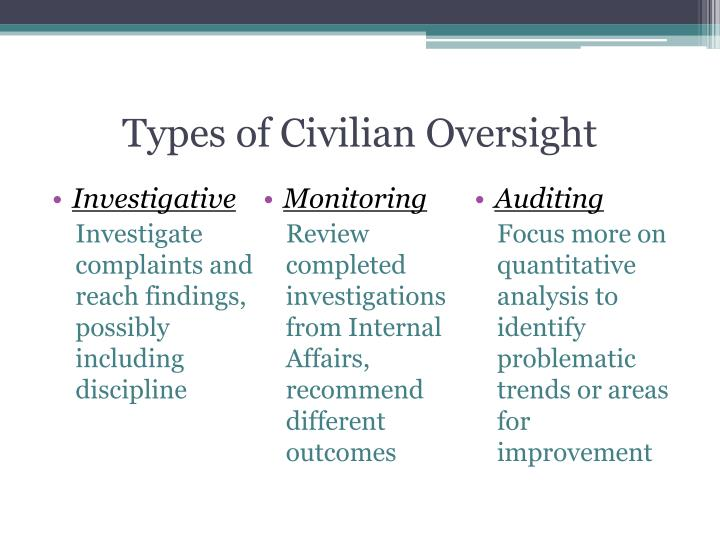 Types of Civilian Oversight