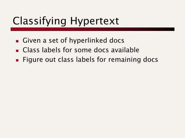 Classifying Hypertext
