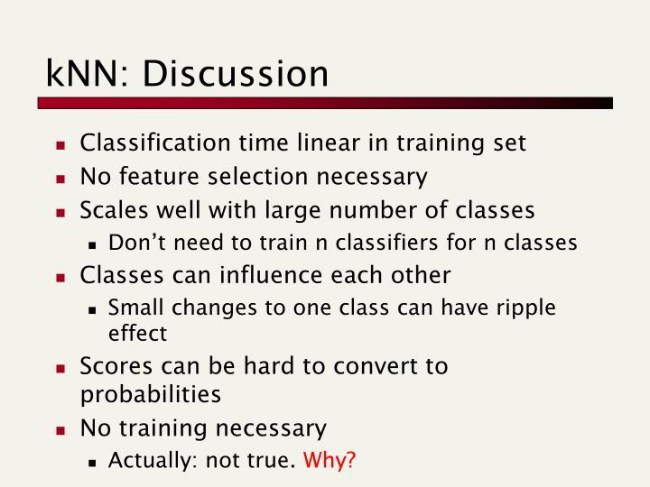kNN: Discussion