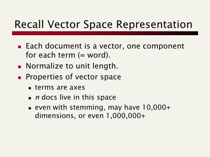 Recall Vector Space Representation