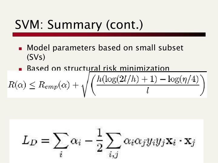 SVM: Summary (cont.)