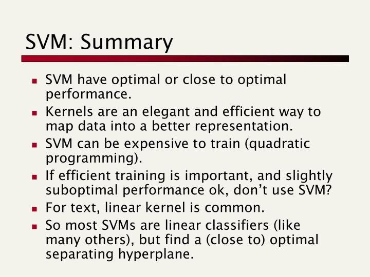 SVM: Summary