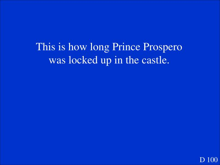 This is how long Prince Prospero was locked up in the castle.