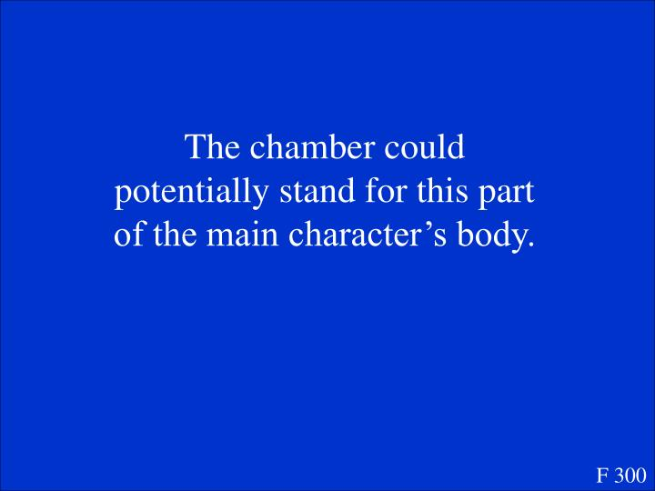 The chamber could potentially stand for this part of the main character's body.