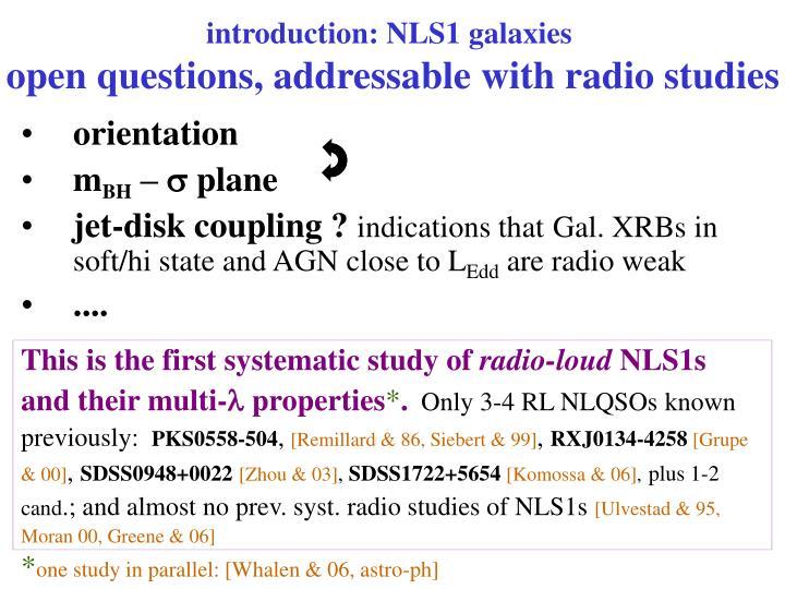 introduction: NLS1 galaxies