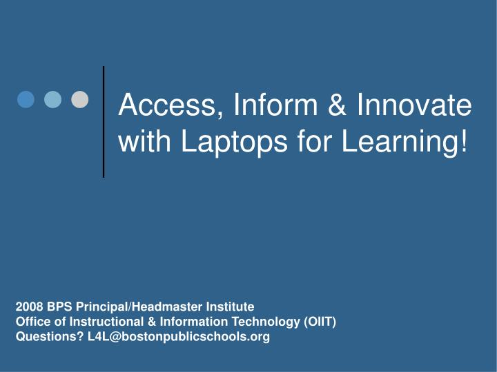 access inform innovate with laptops for learning