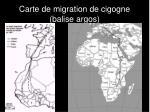 carte de migration de cigogne balise argos