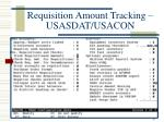 requisition amount tracking usasdat usacon