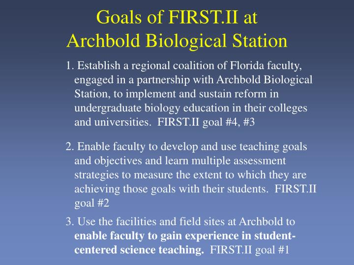 Goals of FIRST.II at