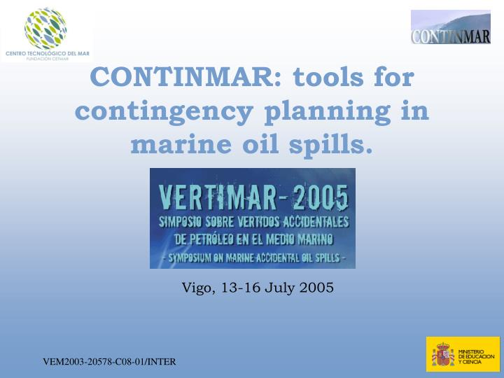 Continmar tools for contingency planning in marine oil spills