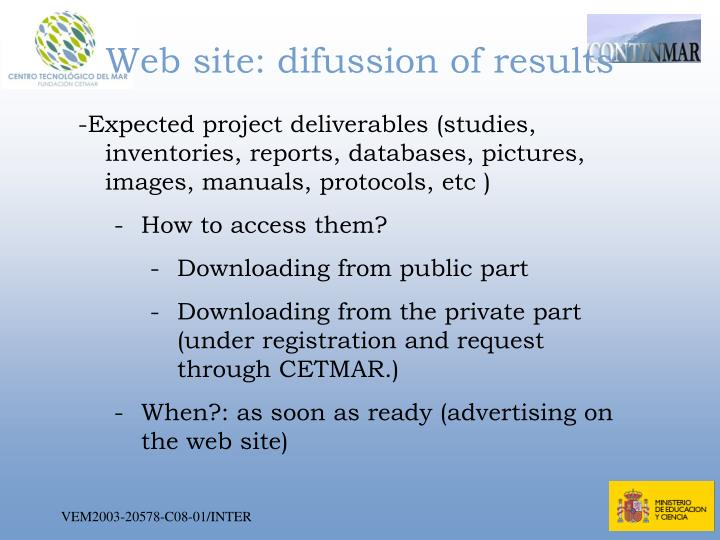 Web site: difussion of results