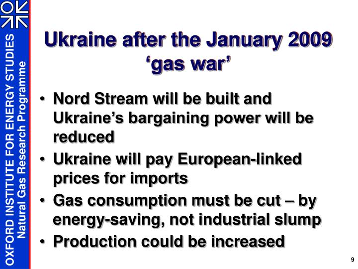 Ukraine after the January 2009 'gas war'