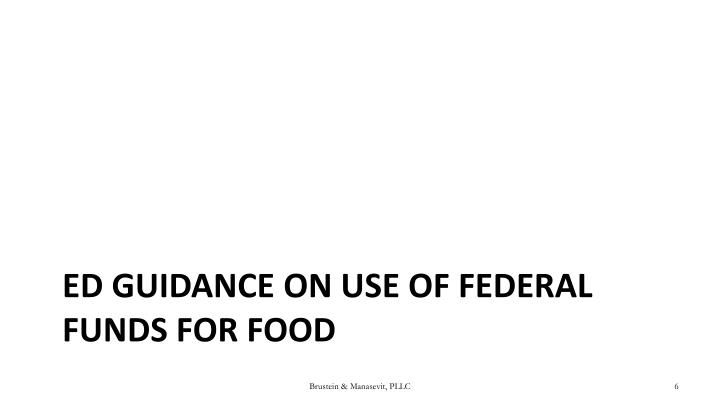ED Guidance on Use of Federal Funds for Food