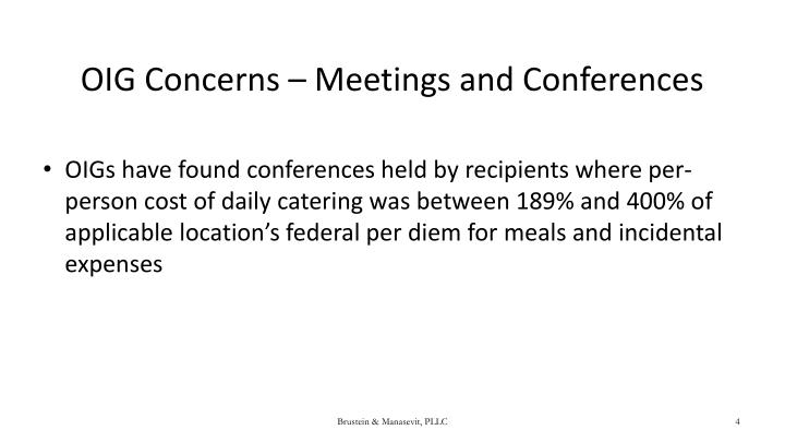 OIG Concerns – Meetings and Conferences