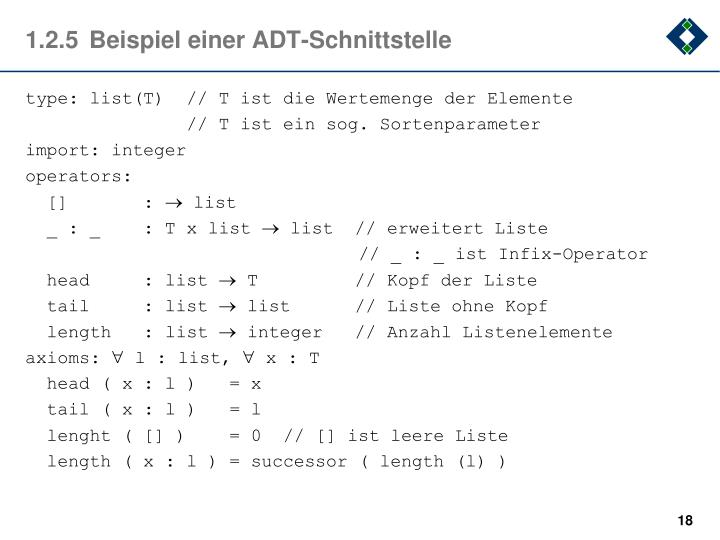 1.2.5Beispiel einer ADT-Schnittstelle