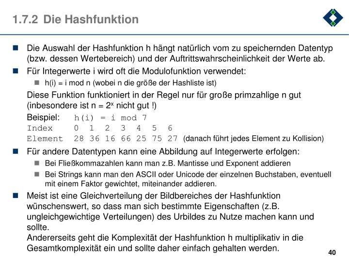 1.7.2Die Hashfunktion