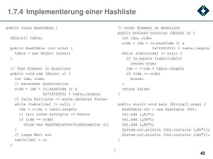 1.7.4Implementierung einer Hashliste