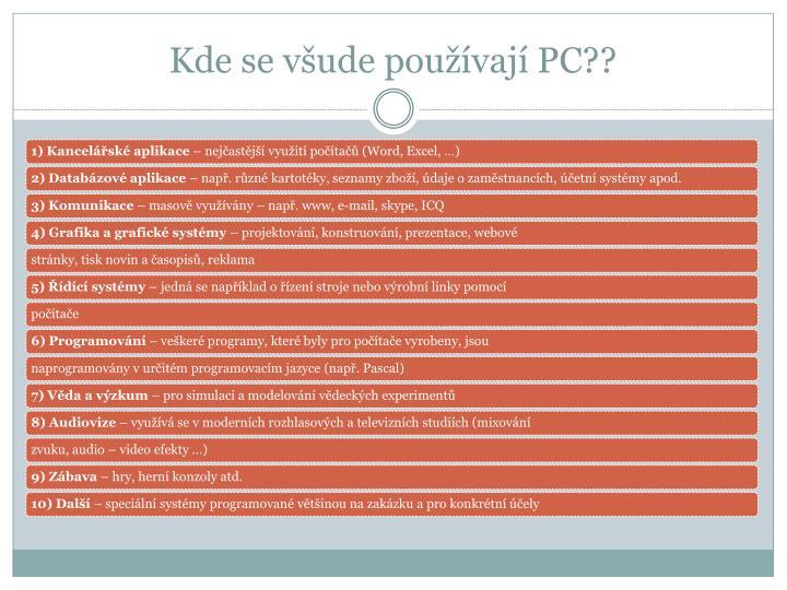 Kde se všude používají PC??