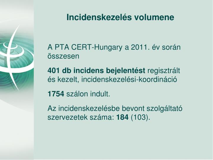 A PTA CERT-Hungary a 2011. év során összesen