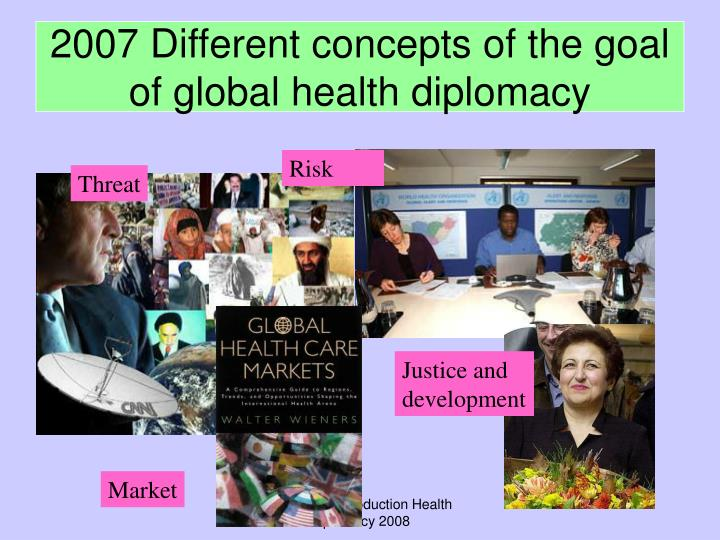 2007 Different concepts of the goal of global health diplomacy