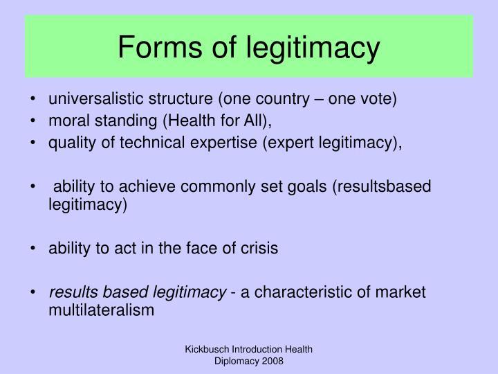 Forms of legitimacy