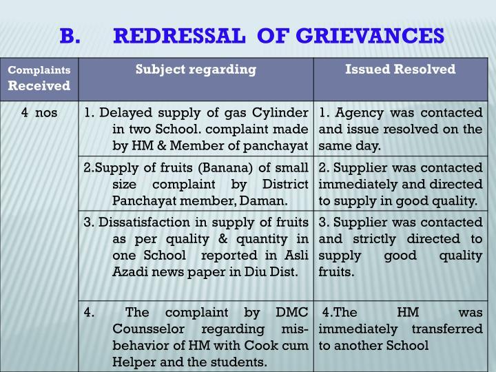 B.      REDRESSAL  OF GRIEVANCES