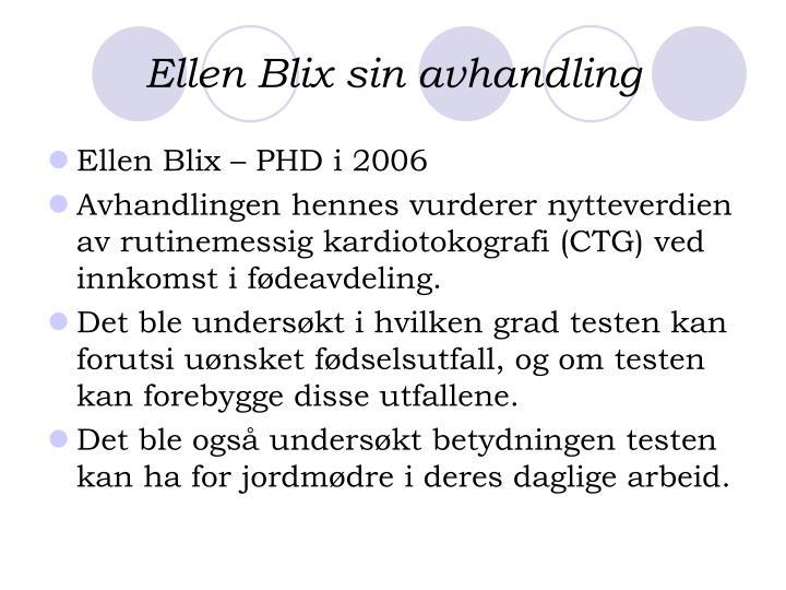 Ellen Blix sin avhandling