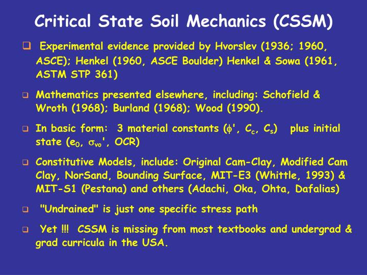 Critical state soil mechanics cssm