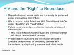 hiv and the right to reproduce