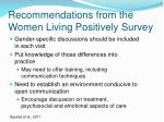 recommendations from the women living positively survey
