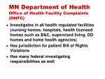 mn department of health office of health facility complaints ohfc